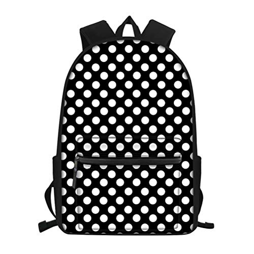 Black White Cute Polka Dot College Vintage Travel Hiking Laptop Backpack