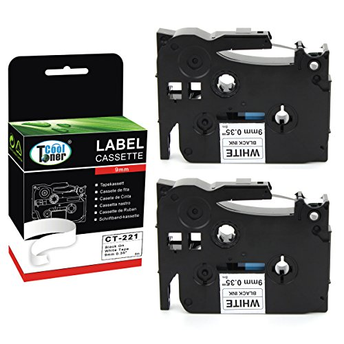 """Cool Toner Compatible P Touch Label Tape Replacement for Brother TZ221 TZ-221 TZe-221 TZe221 (3/8"""" X 26.2', 9mm x 8m, Black on White, 2-Pack)"""