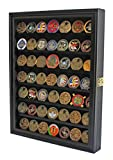 Challenge Coin/Casino Chip Display Case Cabinet Holder Shadow Box, Glass Door, Black (COIN56-BL)