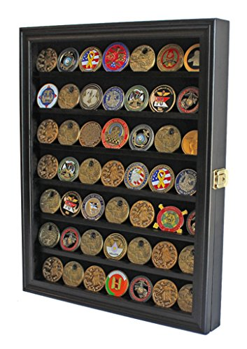 - Challenge Coin / Casino Chip Display Case Cabinet Holder Shadow Box, Glass Door, Black (COIN56-BL)