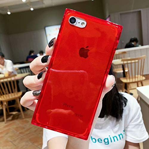Square Case for iPhone 7 8,Tzomsze Clear Transparent Case Cover Reinforced Corners TPU Cushion,Crystal Clear Slim Shock Absorption TPU Silicone Shell Compatible for iPhone 7 8 (4.7) -Red