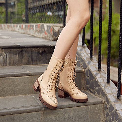 Chfso Donna Trendy Lace Lace Up Mid Chunky Heel Platform Mid Boots Invernali Beige