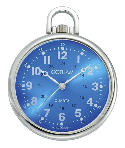 Gotham Men's Silver-Tone Ultra Thin Railroad Open Face Quartz Pocket Watch # GWC15027SBL Brass Quartz Pocket Watch