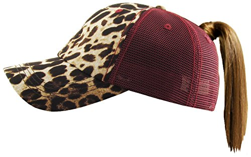 (Funky Junque H-216-LM64 Distressed Pony Cap - Leopard - Mesh Burgundy)