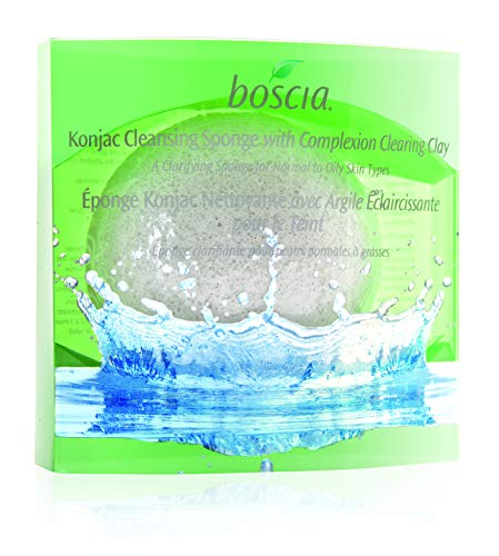 boscia Konjac Cleansing Sponge with Complexion Clearing Clay - Natural and Reusable Face Cleansing Sponge with Konjac Root and Green Clay for Blemish-Prone Skin