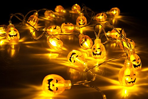 Velice Battery Operated LED Fairy String Lights 3D Pumpkin 20 LED Lights Halloween Christmas Decoration Lights (Pumpkin