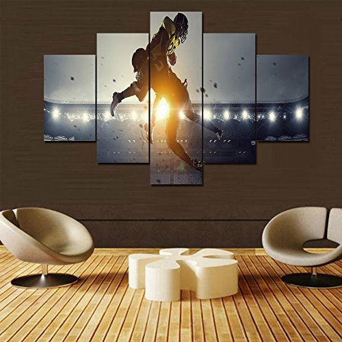 Extra Large Wall Art NFL Paintings for Living Room American Football Players Pictues 5 Panel Canvas Sports Games Home Decorations Contemporary Artwork Framed Gallery-wrapped Ready to Hang(60''Wx40''H)