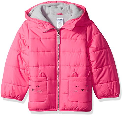Carter's Baby Toddler Girls' Fleece Lined Critter Puffer Jacket Coat, Fuchsia Kitty, ()