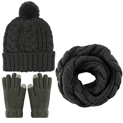 (Aneco Winter Warm Knitted Scarf Beanie Hat and Gloves Set Men & Women's Soft Stretch Hat Scarf and Mitten Set)