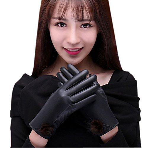 bluelemon スマホ手袋 スマートフォン操作対応 毛玉レザー手袋 タッチパネル グローブ レディーズ