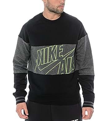 Nike Mens BB Heritage Crew Pullover Sweatshirt Black/Grey (Large)