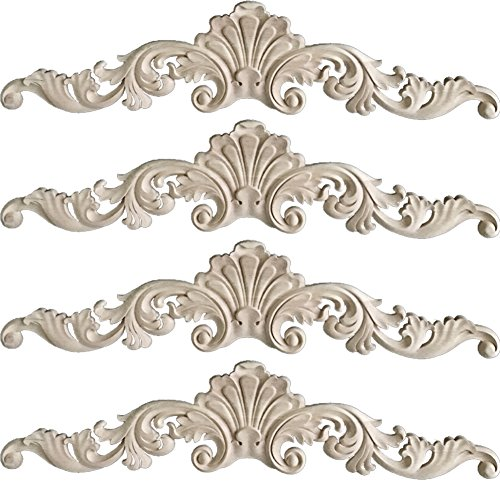 WINGOFFLY Wood Carved Onlay Corner Unpainted Applique Frame for Decoration Home Furniture Doors Windows(8