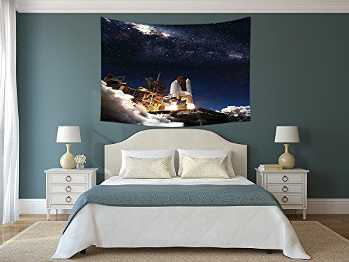 Polyester Tapestry Wall Hanging,Galaxy,Shuttle on Take off Discovery Mission to Explore Galaxy Spaceship Solar Adventure,Blue White,Wall Decor for Bedroom Living Room Dorm -