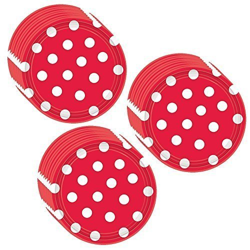 Unique Red Polka Dot Party Dessert Plates - 24 Guests]()