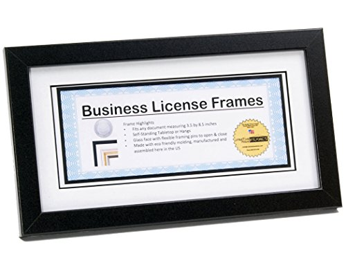 CreativePF [65EN-5.5x10.5bk-w] Black Business License Certificate Frame for Professionals Holds 3.5 by 8.5 with White Mat Includes Self Standing Easel Back with Hanger (Picture Frame State Landscape)