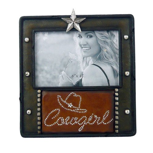 Cowgirl Western Photo Picture Frame, Leather Insert, Barn Star, 4x6, Horizontal