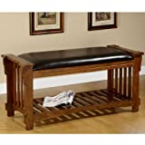 Classic Leather-upholstered Antique Oak Wood Bench Review