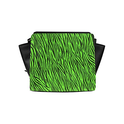 InterestPrint Satchel Bag Green Zebra Stripes Animal Print Fur Satchel Handbag For Women ()