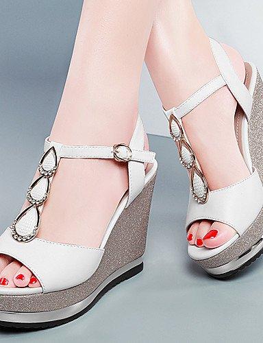 LFNLYX Zapatos de mujer-Plataforma-Punta Abierta / Creepers-Sandalias-Boda / Vestido / Casual / Fiesta y Noche-Sintético-Negro / Blanco Black
