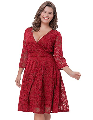 V-neck Empire Waist Evening Dress with Sleeves A-Line Plus Size 0X Dark Red