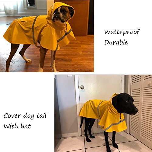 NACOCO Large Dog Raincoat Adjustable Pet Water Proof Clothes Lightweight Rain Jacket Poncho Hoodies with Strip Reflective (M, Yellow)...
