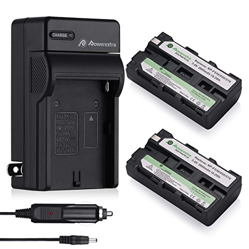 Powerextra 2 Pack Replacement Sony NP-F550 Battery and Charger Compatible With Sony NP-F330, NP-F530, NP-F570 and Sony CCD-RV100, CCD-RV200, SC5, TR917 Camera CN-160, CN-216 LED Video Light
