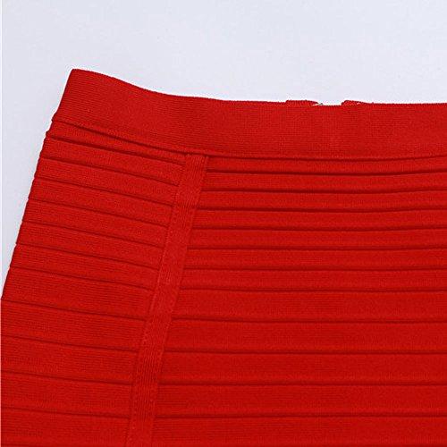Length Waist HLBandage Knee Skirt Rayon Bandage Stripe High Rouge 7pwxUq5wF