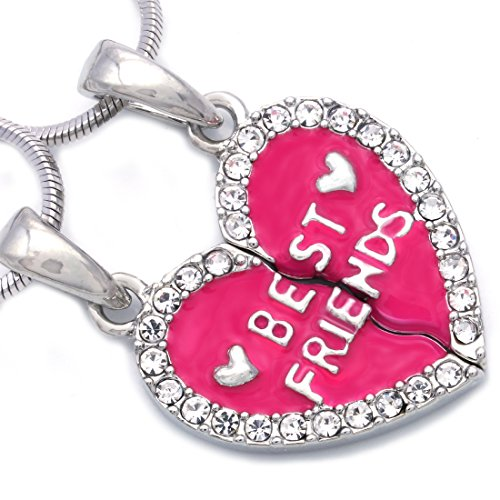 Soulbreezecollection Best Friends Forever BFF Charm Heart Necklace Pendant Enamel Engraved Letters (Hot Pink) (Heart Charm Friend)