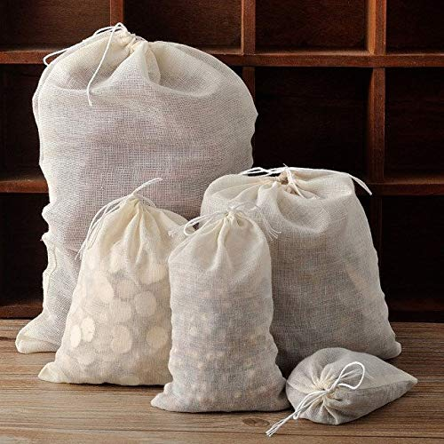 FidgetGear 10/50 / 100 Pack Natural Cotton Muslin Drawstring Bags Soap Herbs Tea 3x4 8x10 16x20 inch 50 PCS by FidgetGear (Image #3)