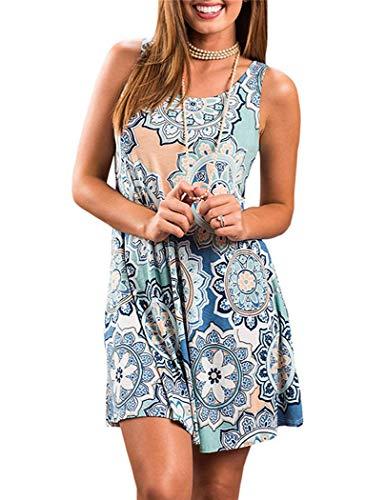 Summer Beach Dresses for Women Tshirt Sundresses Boho Casual Sleeveless Floral Shift Pockets Swing Loose Damask Element Blue X-Large]()