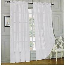 "Elegant Comfort?2 Piece Solid Sheer 60"" x 84"" Window Curtains/drape/panels/treatment, White by Elegant Comfort"