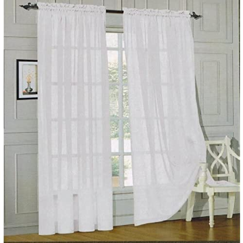 Elegant Comfort 2 Piece Solid Sheer 60 X 84 Window Curtains Drape Panels Treatment White