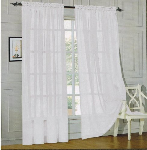 Cotton Voile Curtains - Elegant Comfort voile84 Window Curtains Sheer Panel with 2-Inch Rod Pocket, 60 Width X 84-Inch Length - White