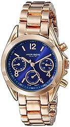 Akribos XXIV Women's AK809RGBU Multifunction Swiss Quartz Movement Watch with Royal Blue Dial and Rose Gold Bracelet