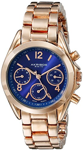 Akribos XXIV Women's AK809RGBU Multifunction Swiss Quartz Movement Watch with Royal Blue Dial and Rose Gold Bracelet
