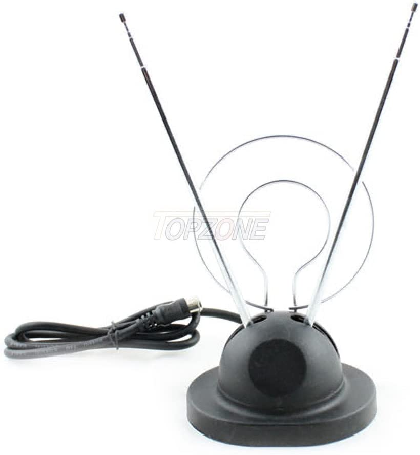 NEW Indoor Rabbit Ear TV Antenna Digital Box HDTV Ready VHF UHF Dual Loop Coax