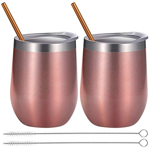 Set 12 Coffee Cups Piece (BBTO 2 Sets 12 oz Stainless Steel Stemless Wine Glass, Unbreakable Double Wall Insulate Cup Tumbler with Lids for Wine, Coffee, Including 2 Pieces Straws and 2 Pieces Brushes (Bright Rose Gold))