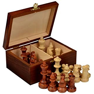 Wegiel Handmade European Professional Tournament Chess Pieces With Wood Storage Case