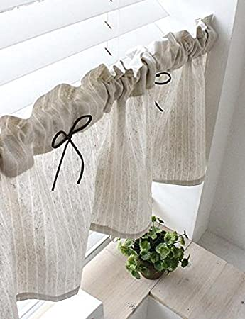 Tenda in lino naturale da cucina Valances, fatta a mano, stile rurale  europeo, per le finestre della vostra casa, pezzo singolo, larghezza 30 cm  x ...