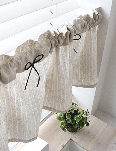 Tenda in lino naturale da cucina Valances, fatta a mano, stile ...
