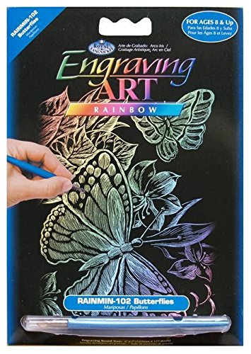 Butterflies Royal Brush 5 by 7-Inch Rainbow Foil Engraving Art Kit Mini