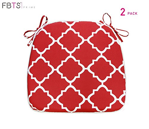 FBTS Prime Outdoor Chair Cushions (Set of 2) 16x17 inches Patio Seat Cushions Red Square Chair Pads for Outdoor Patio Furniture Garden Home Office by FBTS Prime