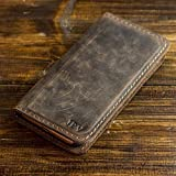 Pegai Personalized Magnetic Distressed Leather iPhone Wallet Case for X/XS / 6 /6S / 6Plus / 6SPlus / 7 Plus / 8 Plus/XR/XS Max Phone Wallet, Easy to Use iPhone Folio Case, McLean Chestnut Brown