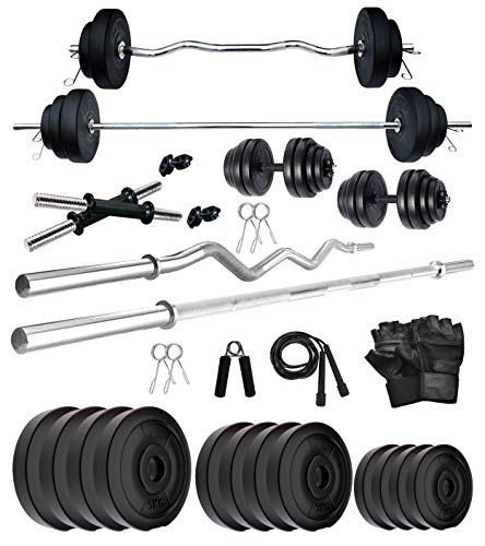 Kore PVC 40 Kg COMBO2-WB with Other One 5 ft Plain + One 3 ft Curl Rod and One Pair Dumbbell Rods with Gym Accessories Home Gym Set (Multicolor)