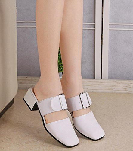 Frau Sommer Sandalen Partei Sandalen mit quadratischem Kopf und ein halben Pantoffel white