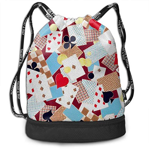 Drawstring Bag Playing Cards Shoulder Bags Travel Sport Gym Bag Print - Yoga Runner Daypack Shoe Bags With Zipper And Pockets]()