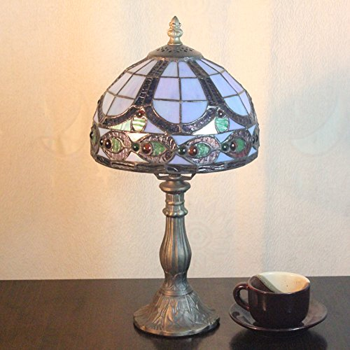 8-Inch Pastoral Romantic Stained Glass Home Deco Peacock Table Lamp Bedroom Lamp Bedside Lamp