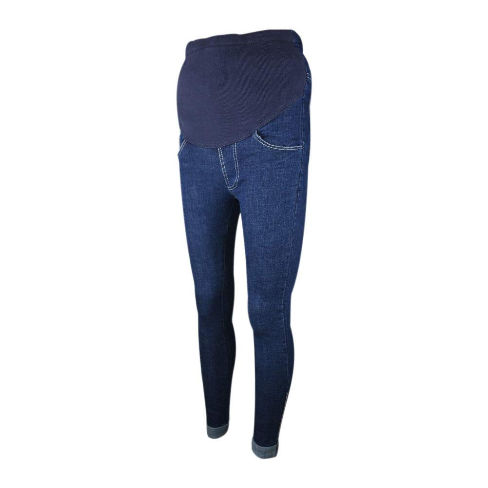 Xinvision Pregnant Women Thicken Warm Jeans High Waist Over The Bump Denim Pants Ltd.