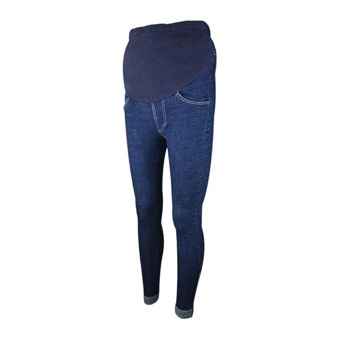 Deylaying Maternidad Pantalones Embarazo Jeans - Moda Mujeres Embarazadas Espesar Calentar Pantalones Cintura Alta Sobre el