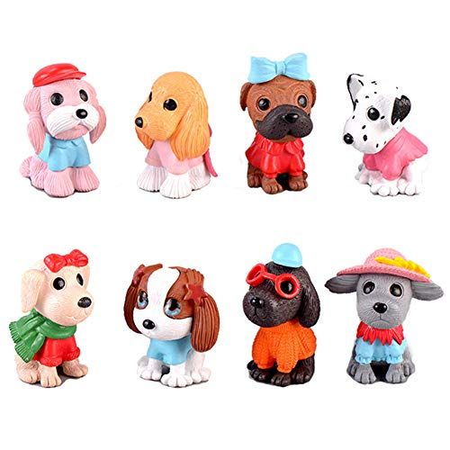 Cake Figurines Kids (DeQian 8pcs Dog Figures for Kids, Cake Toppers, Dog Figurines Collection Playset for Christmas Birthday Gift Desk)
